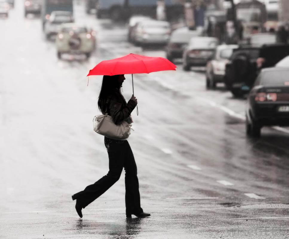 woman walking rain