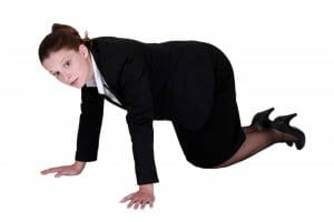 adult woman crawling