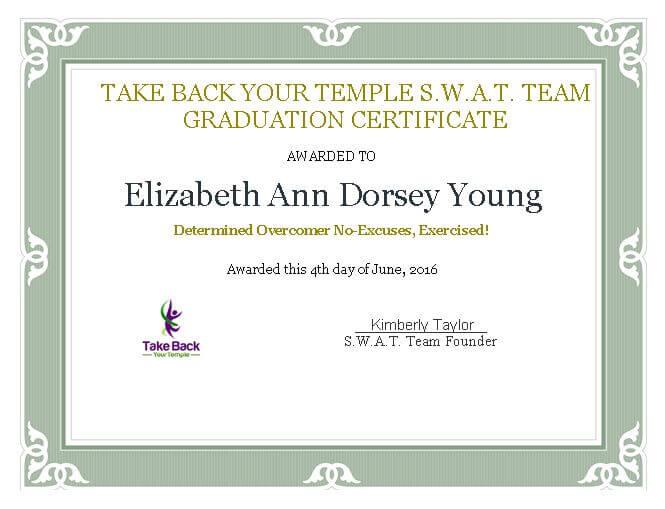 Elizabeth Young Certificate